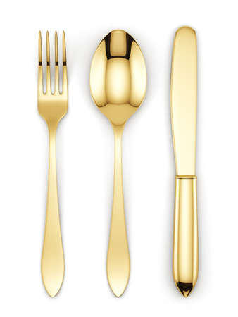3d render of golden fork, spoon and knife isolated on white background