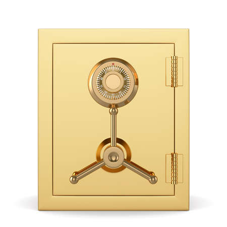 combination lock: 3d illustration of golden closed safe isolated on white background. Security concept