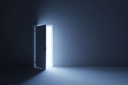 future space: 3d render of light in empty room through the opened door Stock Photo