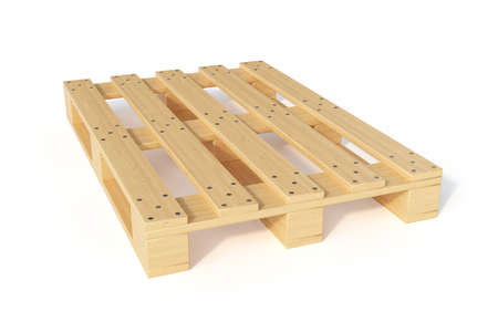 3d render of wooden cargo pallet isolated on white . Transportation concept