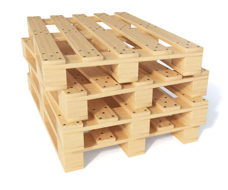 pallet: 3d render of wooden cargo pallet isolated on white background. Transportation concept