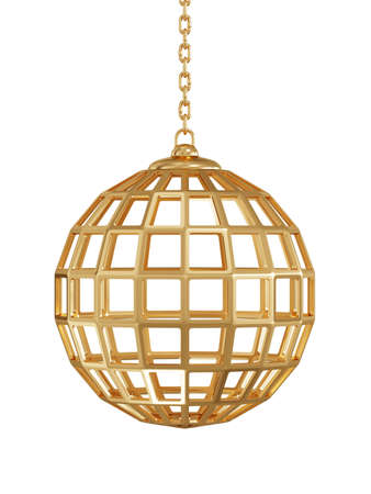 trapped: 3d render of golden gate sphere wuth chain isolated on white background Stock Photo