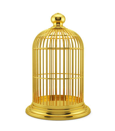 3d render of golden birdcage cage isolated on white background photo