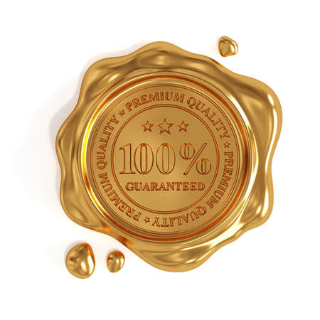 certificated: 3d render of golden wax seal 100 percent premium quality stamp isolated on white background