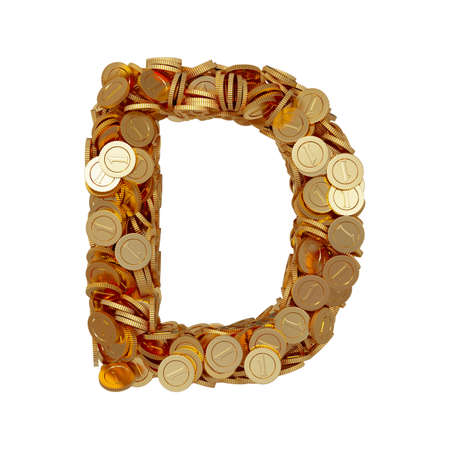 3d illustration of alphabet letter D with golden coins isolated on white background illustration