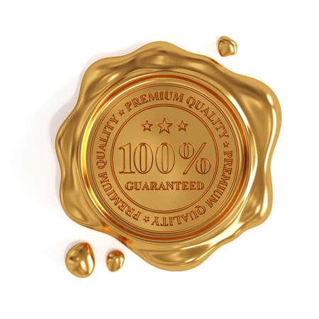 3D render van gouden wax verzegelen 100 procent premium kwaliteit stempel op een witte achtergrond Stockfoto