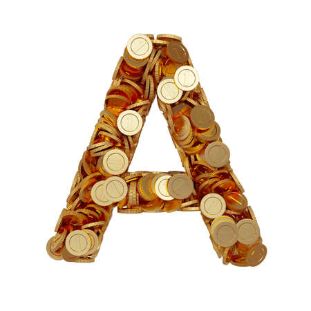 3d illustration of alphabet letter A with golden coins isolated on white background illustration