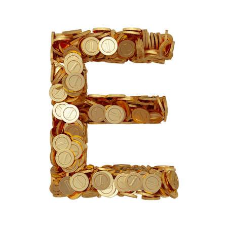 3d illustration of alphabet letter E with golden coins isolated on white background illustration