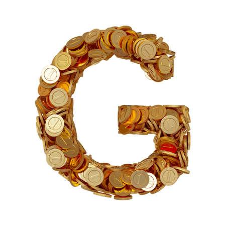 3d illustration of alphabet letter G with golden coins isolated on white background illustration