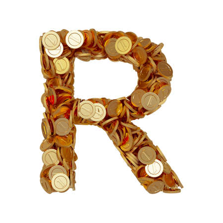 3d illustration of alphabet letter R with golden coins isolated on white background illustration