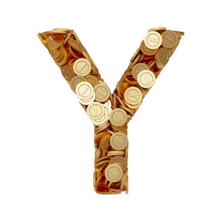 3d illustration of alphabet letter Y with golden coins isolated on white background illustration
