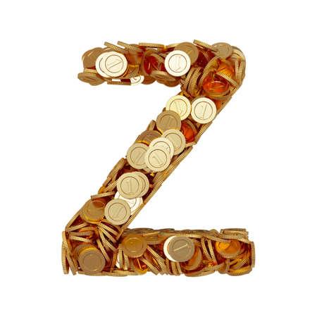 3d illustration of alphabet letter Z with golden coins isolated on white background illustration