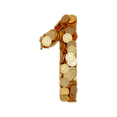 odd: 3d illustration of alphabet number digit one 1 with golden coins isolated on white background