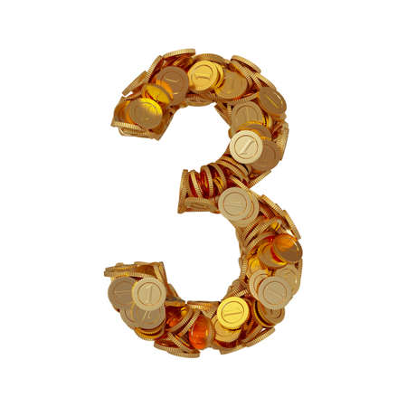 3d illustration of alphabet number digit three 3 with golden coins isolated on white background illustration