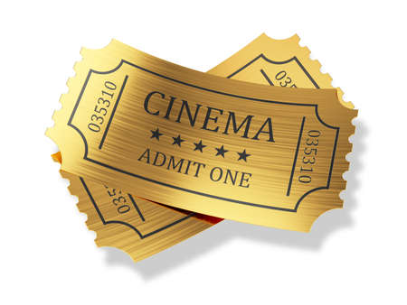3d render of golden cinema tickets with shadow isolated on white background photo