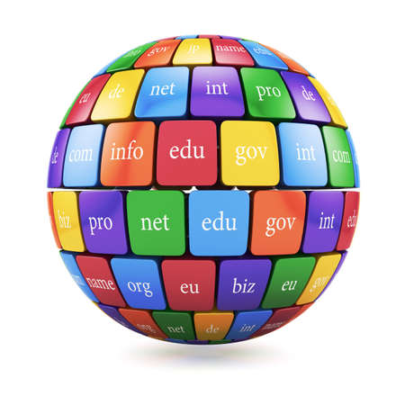 3d render of global internet communication creative abstract internet PC technology and web telecommunication business computer concept. View of group color cubes in the sphere spape domain names photo