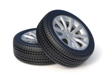 3d render of high detaled winter tyres isolated on white background photo