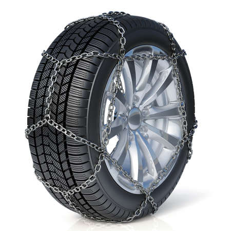 3d render of winter tire with snow chain isolated on white background Фото со стока