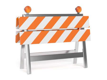 3d geef van in aanbouw barrière met de weg kegels. Geïsoleerd op witte achtergrond