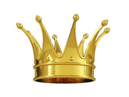 corona rey: Corona real de oro aislado en fondo blanco Foto de archivo