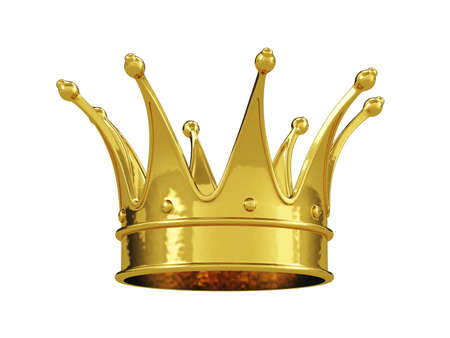 Royal gold crown isolated on white background