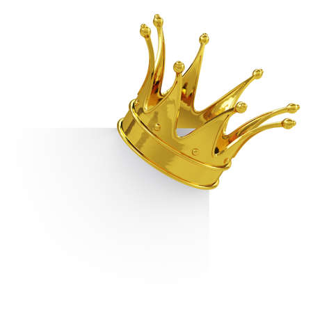 3d render of golden crown on the blank board. Isolated on white background