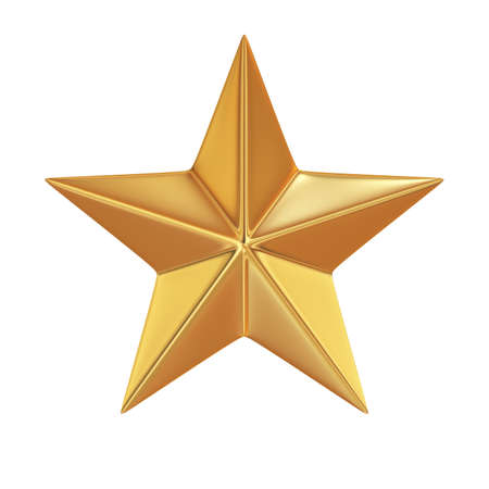 favorite colour: 3d render of golden star isolated on white background Stock Photo