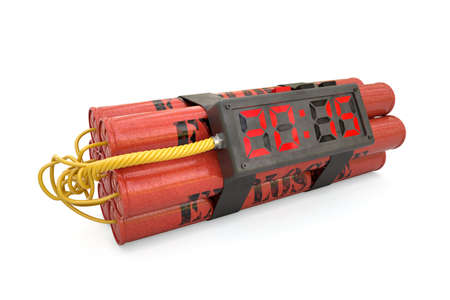 3d explosives with alarm clock 2015 detonator isolated on white background photo