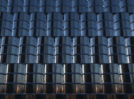 oil barrel: 3d render of black oil barrels wall Stock Photo