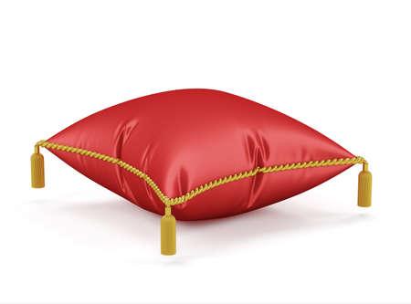 ロイヤル レッド ベルベット枕白い背景で隔離の 3 d レンダリング 写真素材