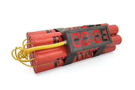 explosives: 3d explosives with alarm clock last second detonator isolated on white background