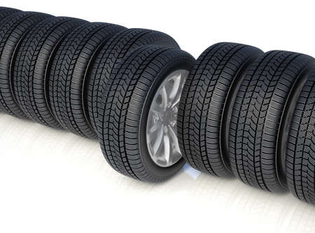 snow tires: 3d render of high detaled winter tyres isolated on white background