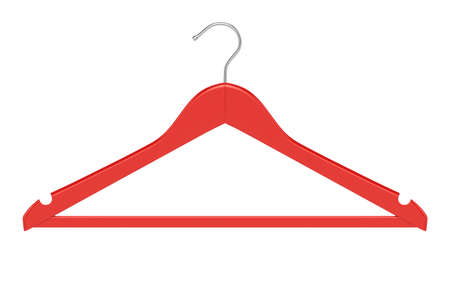 clothe: 3d render of red clothe hanger isolated on white background