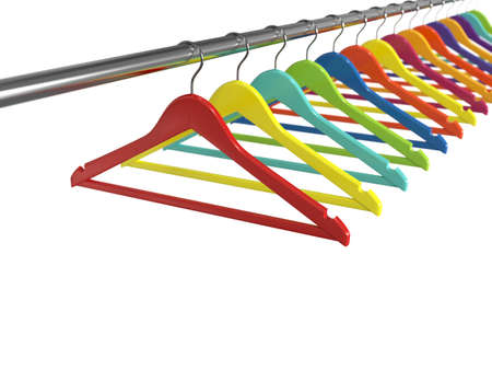 clothes hangers: 3d render of colorful clothes hangers isolated on white background