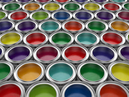 3d illustration of colorful paint cans set 스톡 콘텐츠