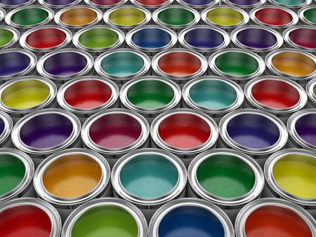 3d illustration of colorful paint cans set Archivio Fotografico