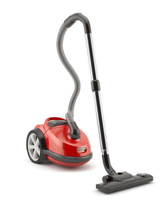 3d render of red vacuum cleaner isolated on white background
