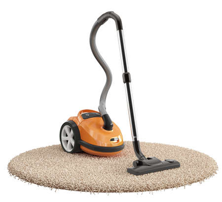 3d render of vacuum cleaner on the carpet isolated on white background Standard-Bild