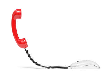 telephone receiver: 3d render of red phone reciever connected to the computer mouse. Service communication concept Stock Photo