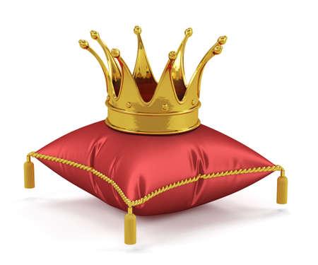3d geef van gouden koning kroon op het rode kussen