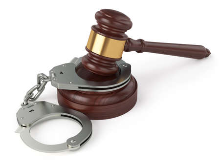 restraints: 3d render of handcuffs and judge gavel isolated on white background