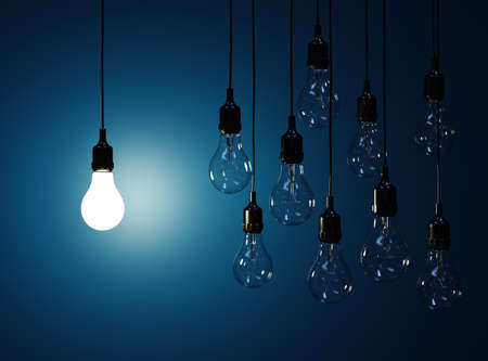 idea light bulb: 3d render  of hanging light bulbs with glowing one isolated on dark blue background