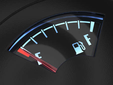 empty tank: 3d render of gas gage with the needle indicating an empty tank. Crisis no fuel concept