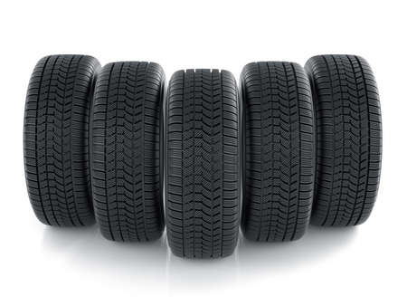 snow tires: 3d render of high detaled tyres isolated on white background Stock Photo