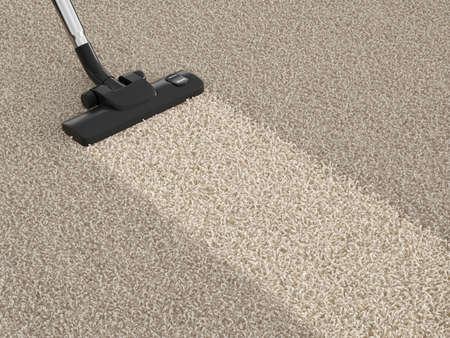 personal de limpieza: Aspiradora en la alfombra sucia. Concepto de limpieza de la casa Foto de archivo