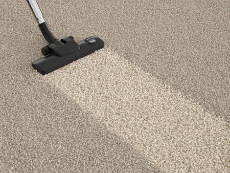 house cleaner: Vacuum cleaner  on the dirty carpet. House cleaning concept