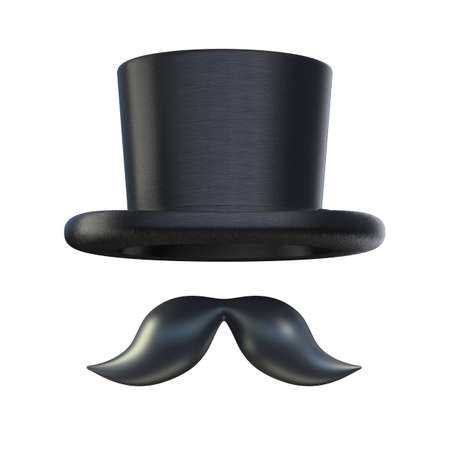 stovepipe hat: Retro moustaches and stovepipe top hat elements isolated on white