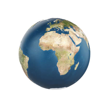 earth color: Planet earth isolated on white background - Europe with Africa view