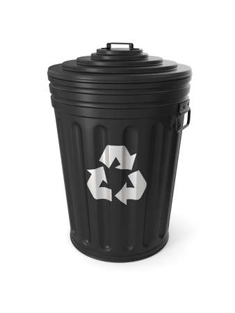 wastepaper basket: Black trash can isolated on white background