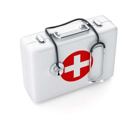 medical box: 3d rendering of stethoscope and first aid kit isolated on white background